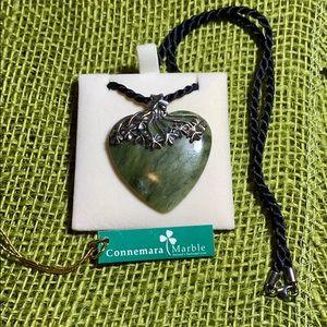 "Irish heart pendant  on 18"" black rope."